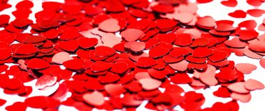 Red heart confetti. Valentins day concept royalty free stock image