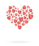 Red heart consisting of heart balloons Stock Photos