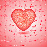 Red heart. Consisting of pieces of of mosaic amid a plethora hearts of different sizes Stock Photos