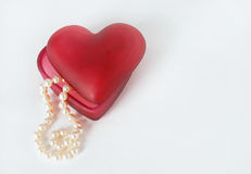 Red Heart Container with Pearls Royalty Free Stock Photo