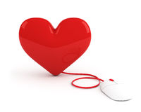 Red heart controled by computer mouse Stock Image