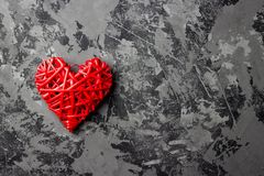 Red heart with copy space on gray background. Top view royalty free stock photos