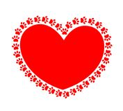 Paw prints pet around the red heart conceptual image. Royalty Free Stock Photography