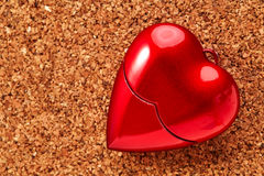Red heart on corkboard. Valentine day stock images