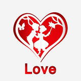 Red heart with couple in love Royalty Free Stock Photo