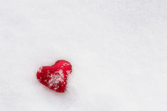 Red Heart Covered In Snow For Valentines Day Royalty Free Stock Photo