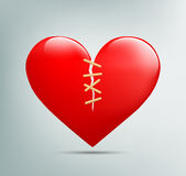 Red heart with a crack Royalty Free Stock Image