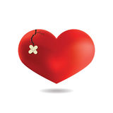 Red Heart with a crack,  On White Background, Vector Royalty Free Stock Photography