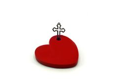 Red Heart with crucifix. Heart with crucifix for God concept royalty free stock photo