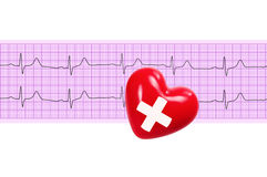Red heart with cross sign over electrocardiogram graph on white Royalty Free Stock Photography
