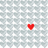 Red heart with a crowd of other grey hearts. Red heart drawn by watercolor and a lot of gray separate hearts around vector illustration