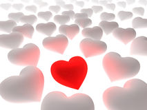 Red heart in a crowd of white hearts. On white background. Three dimensional illustration Royalty Free Stock Photography