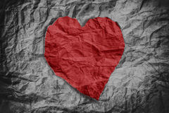 Red heart on crumpled paper texture, heart background, crumpled texture Royalty Free Stock Photography