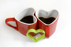 Red heart cup of coffe Stock Photos