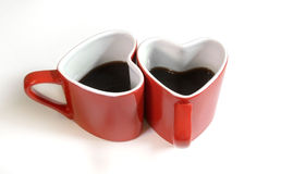 Red heart cup of coffe. On the table Royalty Free Stock Images