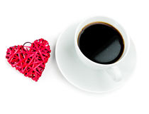Red heart and cup of coffee Royalty Free Stock Photo