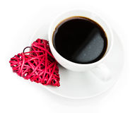 Red heart and cup of coffee Royalty Free Stock Photography