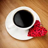 Red heart and cup of coffee Royalty Free Stock Image
