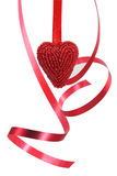 Red heart and curly ribbon Royalty Free Stock Photos