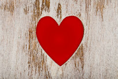 Red heart cut out wood Stock Photography