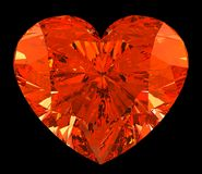 Red heart cut shape diamond over black. Large resolution Royalty Free Stock Image