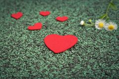 Red heart and cute flower on the green walking path backgrounds with copy space royalty free stock photo