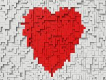 Red heart with 3d blocks. White blocks and red block on center. heart shape Stock Images