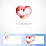 Red heart 3d logo symbol Royalty Free Stock Photo