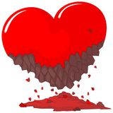 Red heart damaged. Red heart that looks damaged Royalty Free Stock Images