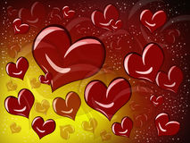 Red heart. On a dark background with yellow and red highlights Vector Illustration