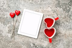 Red Heart Decorartion Drink Cups Love Valentines Day. Red Heart Decorartion and Drink Cups. Love Valentines Day concept with space for Your text image royalty free stock photo