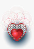 Red heart decorated with curves and beads.Postcard Royalty Free Stock Images