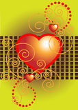 Red heart decorated with curves.Postcard.Backgroun Royalty Free Stock Image