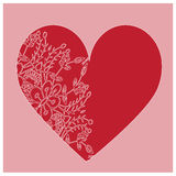 Red heart decorated with floral lace pattern Stock Image