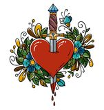 Red heart decorated with flowers pierced with dagger. Tatoo dagger piercing heart with dripping blood.Love. Old school. Red heart decorated with flowers pierced Stock Photography