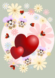 Red heart decorated with flowers.Postcard. Stock Photo