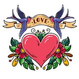 Red heart decorated with flowers. Two bluebirds carry ribbon with lettering LOVE over heart. Old school tattoo. Holiday illustration.Valentines Day Stock Photo
