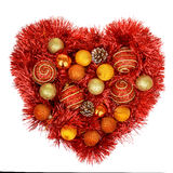 Red heart decoration wit christmas toys Stock Image