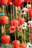 Red heart decorative in garden Royalty Free Stock Image