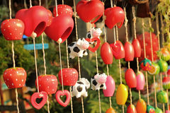 Red heart decorative in garden Stock Photography