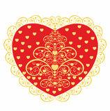 Red heart with a decorative pattern. Stock Image