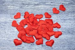 Red heart on denim wooden Background. Valentines and 8 March Mother Women`s Day concept stock photography