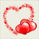 Red heart design as frame Stock Image