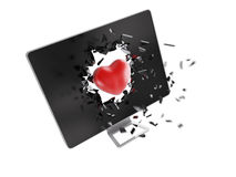 Red heart destroy computer screen. Royalty Free Stock Image