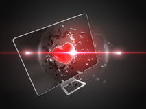 Red heart destroy computer screen. Royalty Free Stock Images