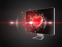 Red heart destroy computer screen. Royalty Free Stock Photos