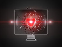 Red heart destroy computer screen. Stock Image
