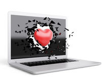 Red Heart destroy laptop Royalty Free Stock Photos