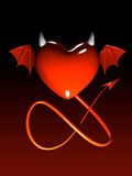 Red heart-devil isolated on gradient 3D Stock Photos