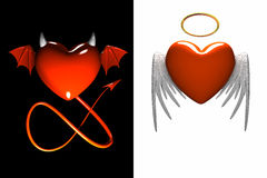Red heart-devil and red heart-angel with wings isolated. 3D vector illustration